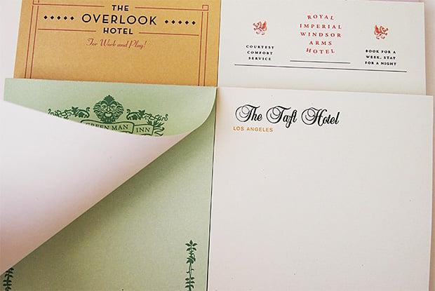 Fictional Hotel Notepads at werd.com