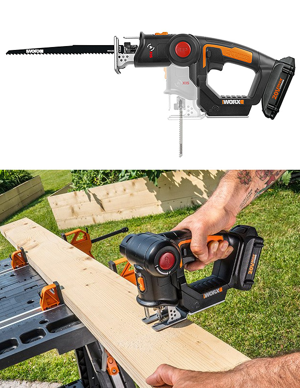 The Axis Portable Saw Quickly Converts from Jigsaw to Reciprocating Saw, Tool-Free at werd.com