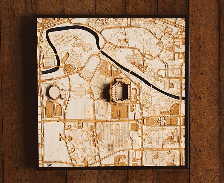 These Laser Cut Wood Maps Show Your Team's Stadium In 3-D at werd.com
