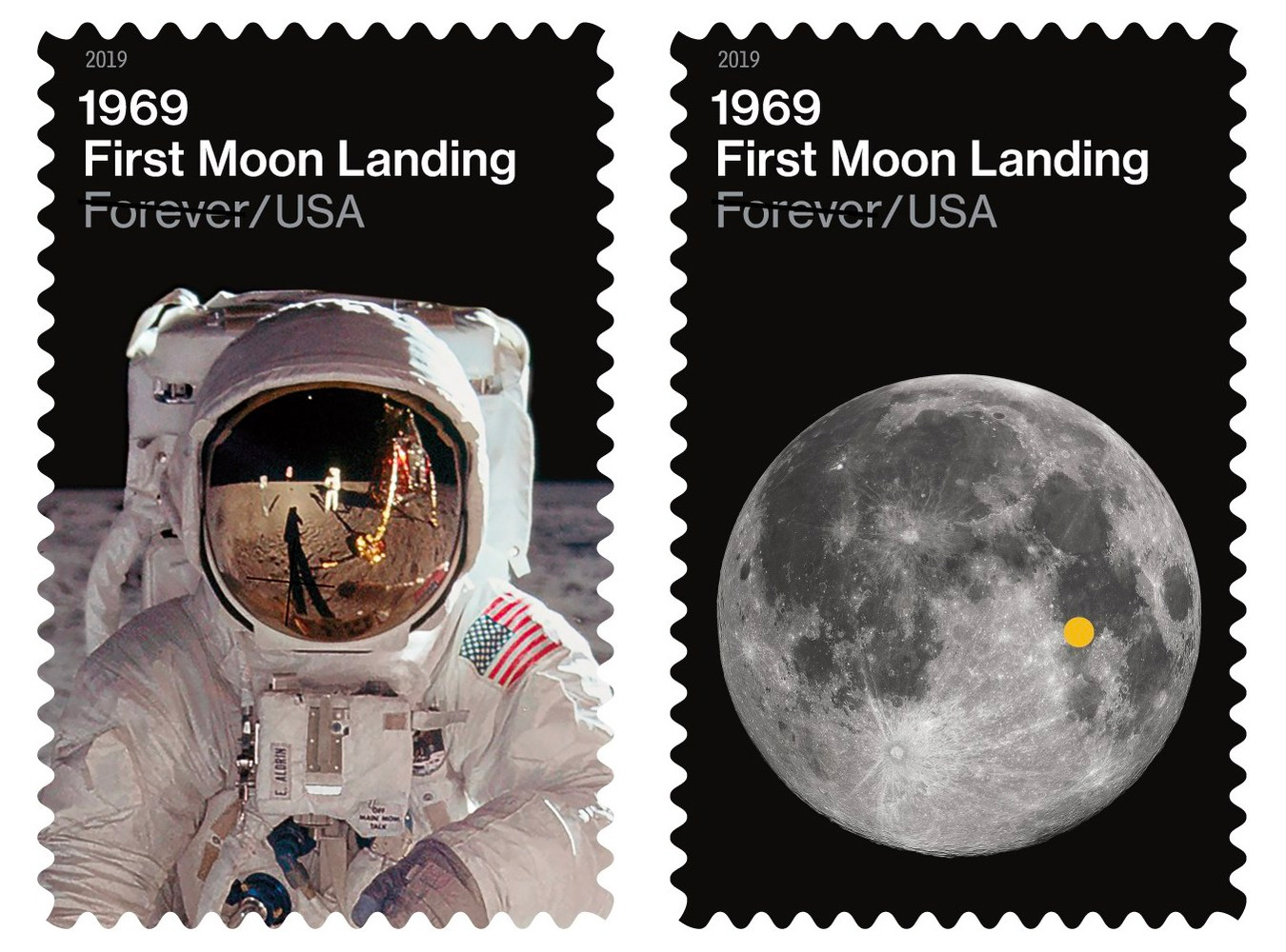 USPS Celebrates 50th Anniversary of Lunar Landing with 2 New Stamps at werd.com