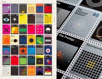 Stamp Album Prints Merge Modern Music & Art