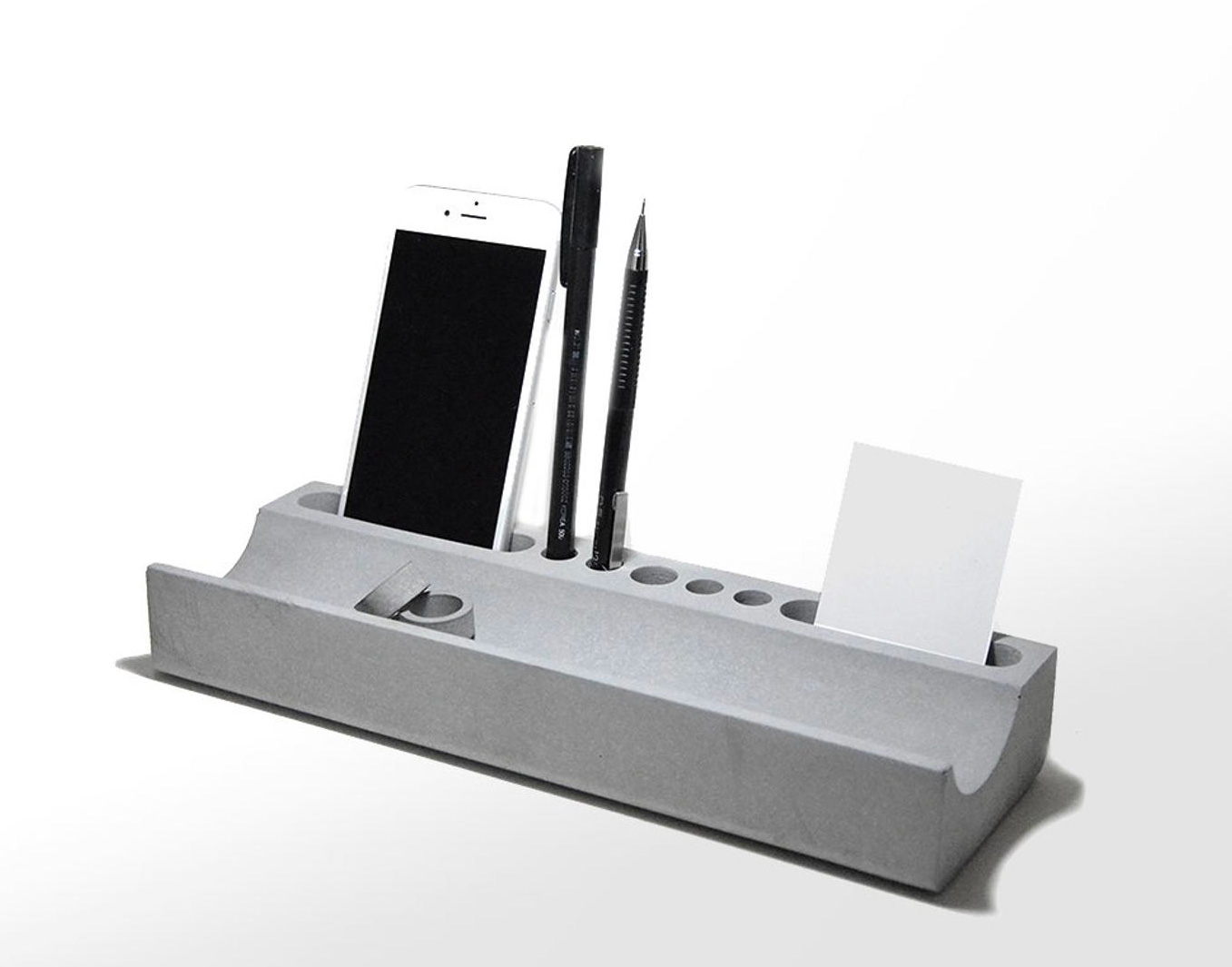 Tidy Up Your Desk with a Cast Concrete Organizer at werd.com