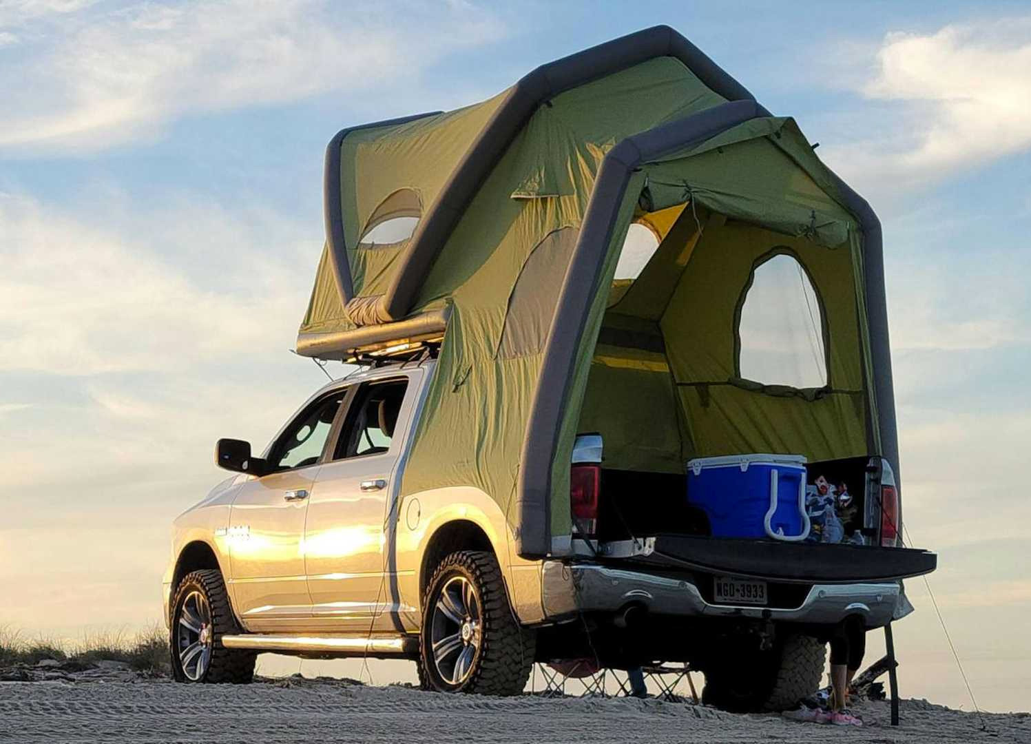 This Inflatable Rooftop Tent Turns Your Truck into a Camper at werd.com